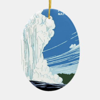 Yellowstone National Park poster Ceramic Oval Decoration