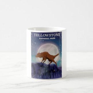 Yellowstone National Park wolf vintage poster Basic White Mug
