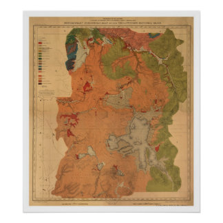 Yellowstone Park Map 1878 Poster