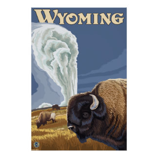 Yellowstone Park, WY - Buffalo by Old Faithful Poster