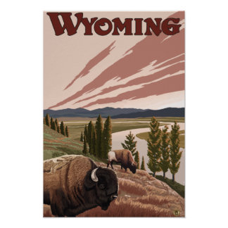 Yellowstone River Bison Vintage Travel Poster