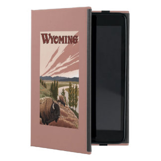 Yellowstone River Bison Vintage Travel Poster Case For iPad Mini