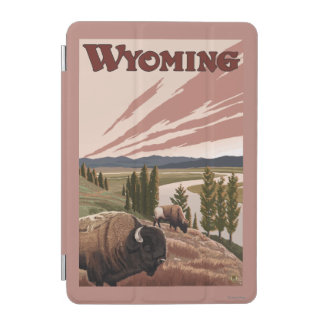 Yellowstone River Bison Vintage Travel Poster iPad Mini Cover
