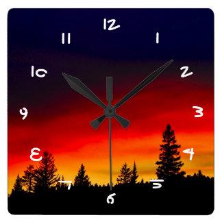 Yellowstone Sunset Square Wall Clock