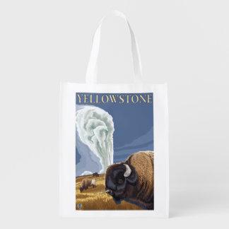 YellowstoneBison with Old Faithful Reusable Grocery Bag