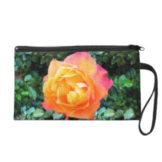 Yeloow Pink Fancy Rose Wristlet Purse
