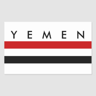 yemen country long flag nation symbol name rectangular sticker