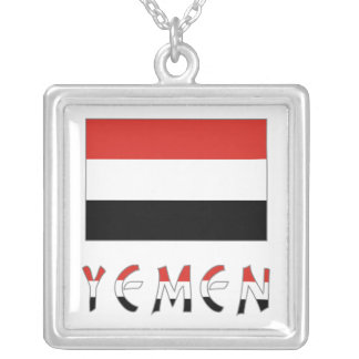 Yemen Flag & Word Silver Plated Necklace