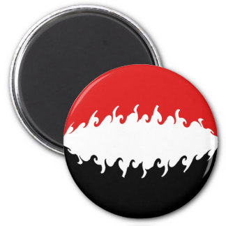 Yemen Gnarly Flag 6 Cm Round Magnet