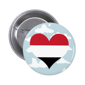 Yemeni Flag on a cloudy background 2 Inch Round Button