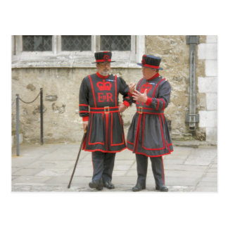 Yeoman Warders in traditional winter dress Postcard