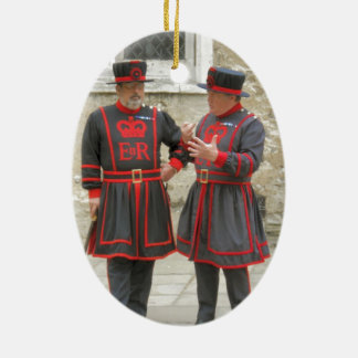 Yeoman warders, or beefeaters on duty ceramic oval decoration