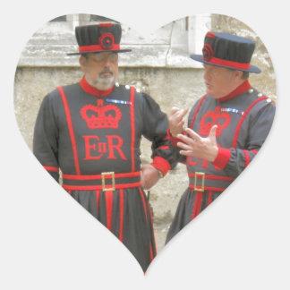 Yeoman warders, or beefeaters on duty heart sticker