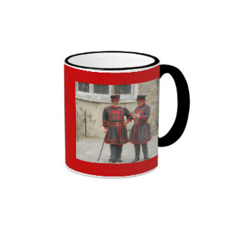 Yeoman warders, or beefeaters on duty mugs