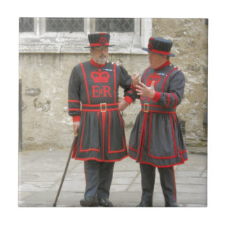 Yeoman warders, or beefeaters on duty small square tile