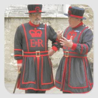 Yeoman warders, or beefeaters on duty square sticker