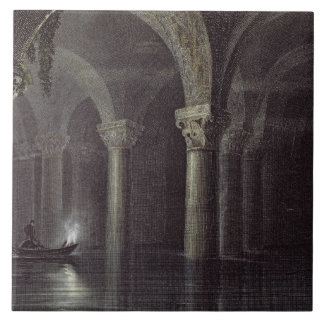 Yere Batan Serai (The Cisterns) Istanbul, engraved Large Square Tile