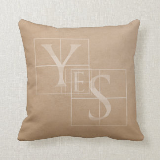 Yes and No Typography Throw Pillow