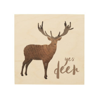 Yes Deer Wood Wall Art