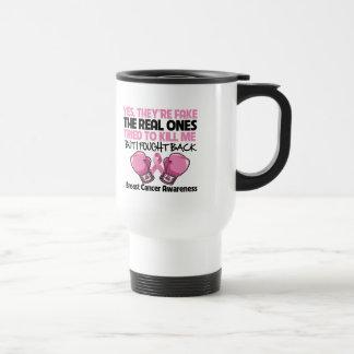 Yes Fake I Fought Back Breast Cancer Awareness Stainless Steel Travel Mug