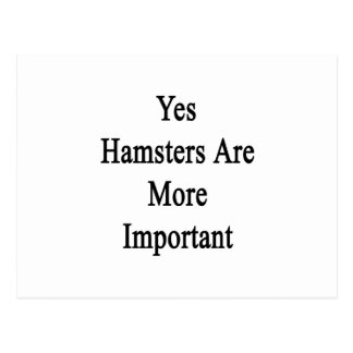 Yes Hamsters Are More Important Postcard