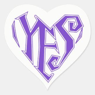 Yes Heart Sticker, Glossy Heart Sticker