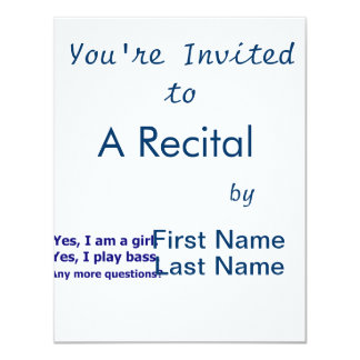 Yes I am a girl text only play bass dark blue 11 Cm X 14 Cm Invitation Card