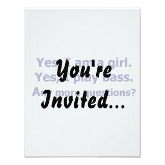Yes I am a girl text only play bass dark blue 11 Cm X 14 Cm Invitation Card