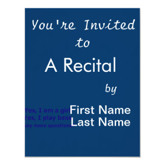 Yes I am a girl text only play bass dark blue 4.25x5.5 Paper Invitation Card