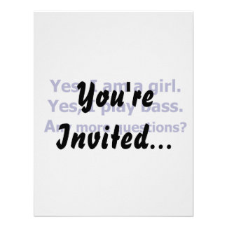 Yes I am a girl text only play bass dark blue Personalized Invite