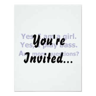 "Yes I am a girl text only play bass dark blue 4.25"" X 5.5"" Invitation Card"