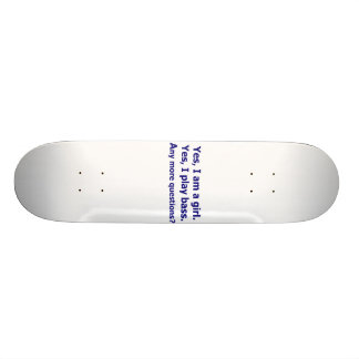 Yes I am a girl text only play bass dark blue Skate Board Deck
