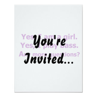 yes I am a girl text only play bass purple 11 Cm X 14 Cm Invitation Card