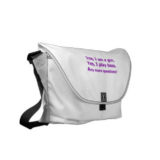 yes I am a girl text only play bass purple Commuter Bag