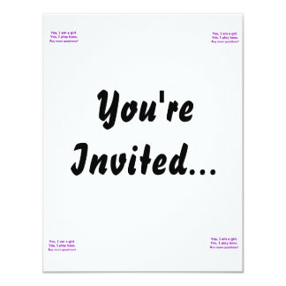 "yes I am a girl text only play bass purple 4.25"" X 5.5"" Invitation Card"