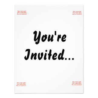 yes I am a girl text only play bass red Custom Invitation