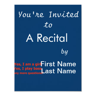 yes I am a girl text only play bass red 11 Cm X 14 Cm Invitation Card