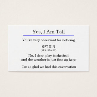 """""""Yes, I am tall"""" card"""
