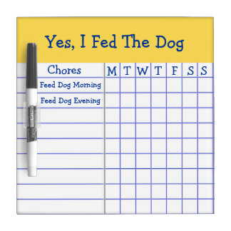 Yes I Fed The Dog Kids Weekly Chores Check List SM Dry-Erase Whiteboard