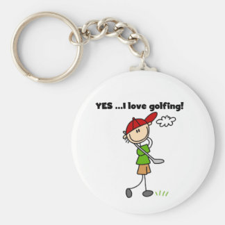 YES I Love Golfing Tshirts and Gifts Basic Round Button Key Ring