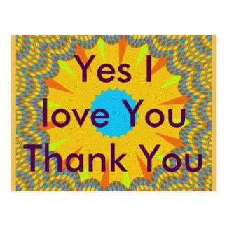 Yes I love You Thank You postcard