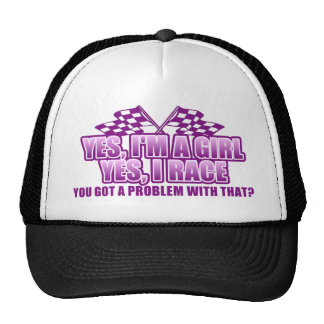Yes I'm A Girl Yes I Race.... Trucker Hats