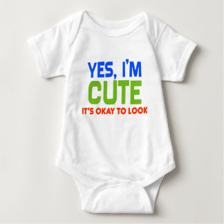 """""""Yes I'm Cute"""" Funny Baby Baby Bodysuit"""
