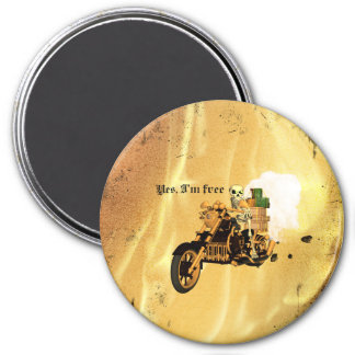 Yes, I'm free, funny skeleton drive motorcycle 7.5 Cm Round Magnet
