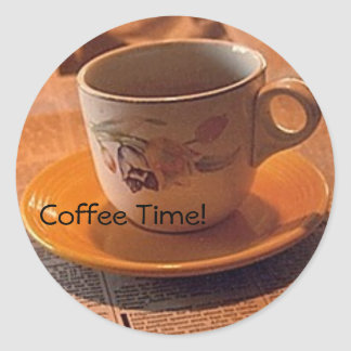 Yes, It's Coffee Time ! Round Sticker