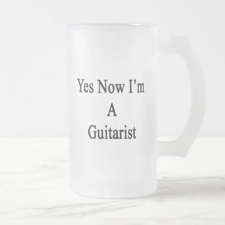 Yes Now I'm A Guitarist Frosted Glass Mug
