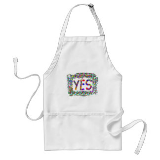 YES : Positive Attitude :  Graphic Text n Border Adult Apron