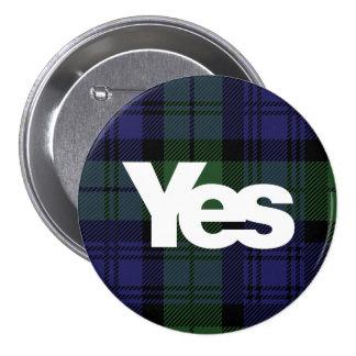 Yes Scotland Scottish Independence 2014 Tartan 7.5 Cm Round Badge