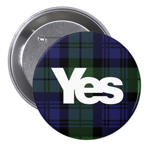 Yes Scotland Scottish Independence 2014 Tartan Pinback Buttons