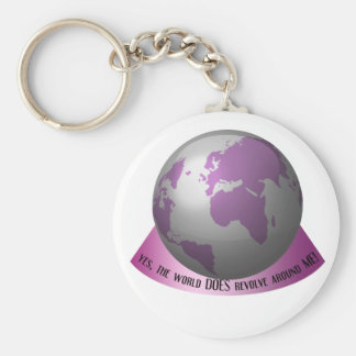 Yes, the world DOES revolve around me Basic Round Button Key Ring
